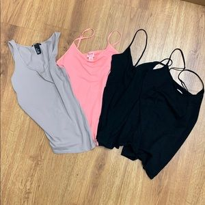 !!4-PACK BUNDLE!! Mauve-Pink-2 Black Tank Tops